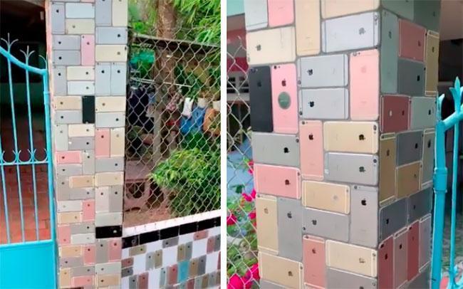 ساخت یک دیوار از آی فون های قدیمی توسط مرد ویتنامی!